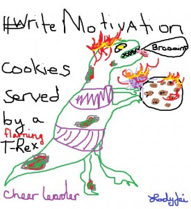 Flaming Zombie Dinosaur Cheerleader serving #Writemotivation Cookies
