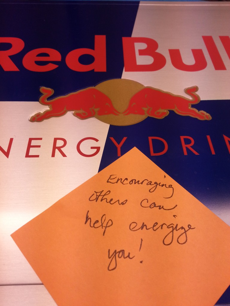 Encouraging others really does help motivate and energize you. Check out #WriteMotivation if you need a bit o' energy! Oh and Redbull too! :)